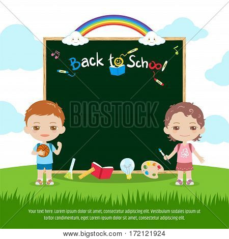 Colorful back to school green chalk board or blackboard banner with cute boy and girl rainbow and sky