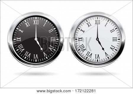 Clock. Black and white clock face with roman numerals and chrome frame. Vector illustration isolated on white background