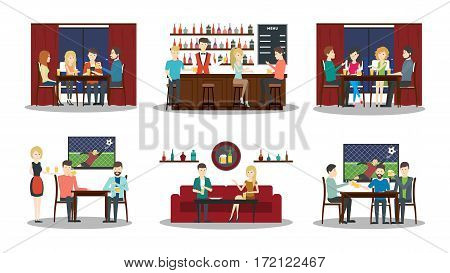 Bar illustartions set on white background. Football match, bar with bartender, alcohol drinks and friends.
