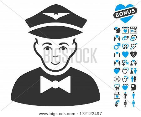 Airline Steward pictograph with bonus love design elements. Vector illustration style is flat iconic blue and gray symbols on white background.