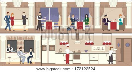 Restaurant interior set. Luxury restaurant with visitors, waiters and kitchen.