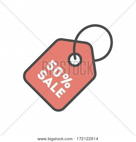 Isolated sale icon on white background. Price tag. Big sale.