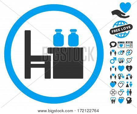 Apothecary Table icon with bonus decorative symbols. Vector illustration style is flat iconic blue and gray symbols on white background.