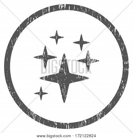 Sparkle Stars grainy textured icon for overlay watermark stamps. Rounded flat vector symbol with unclean texture. Circled gray ink rubber seal stamp with grunge design on a white background.