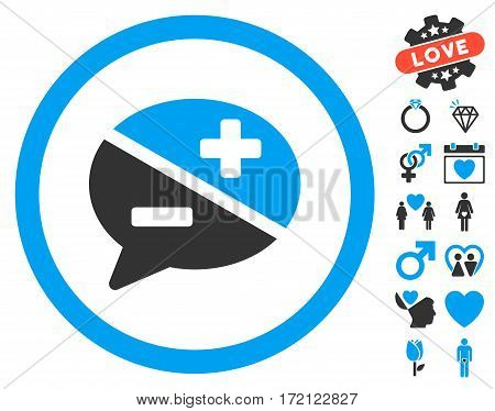 Arguments icon with bonus love images. Vector illustration style is flat iconic blue and gray symbols on white background.