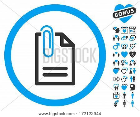 Attach Document pictograph with bonus amour icon set. Vector illustration style is flat iconic blue and gray symbols on white background.