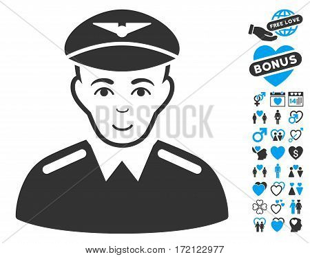 Aviator pictograph with bonus marriage design elements. Vector illustration style is flat iconic blue and gray symbols on white background.