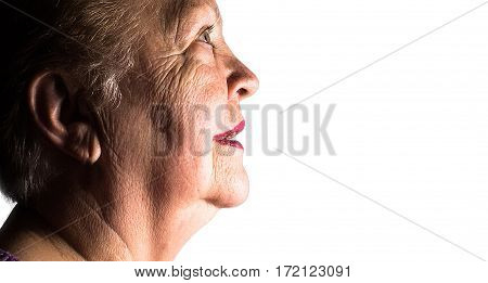 Profile Portrait Of Elderly Old Women, Grandmother, On White Background, Isolated