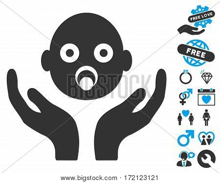 Baby Care Hands icon with bonus dating clip art. Vector illustration style is flat iconic blue and gray symbols on white background.