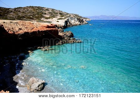 Elevated view of the beach and rugged coastline near Ammoudara Crete Greece Europe.