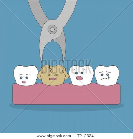 Bad tooth extraction. Good and bad teeth. Health care. Scared tooth.