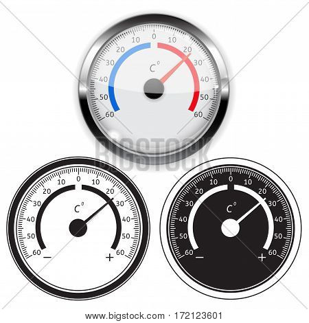 Weather thermometer. Vector illustration isolated on white background