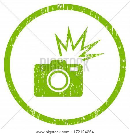 Camera Flash grainy textured icon for overlay watermark stamps. Rounded flat vector symbol with unclean texture. Circled light green ink rubber seal stamp with grunge design on a white background.