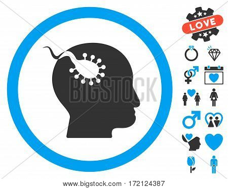 Brain Parasite pictograph with bonus love design elements. Vector illustration style is flat iconic blue and gray symbols on white background.