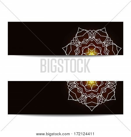 Banner template set with shiny floral mandalas. Sacred geometry. Ethnic ornament. Indian traditional decorative elements. Design for yoga studio flyer, card, invitation. Vector EPS10 illustration.
