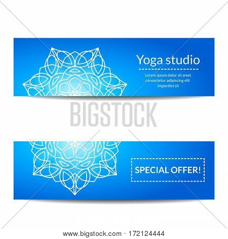Blue yoga studio banners set with white floral mandalas. Sacred geometry. Ethnic ornament. Indian traditional decorative elements. For yoga studio flyer, card, invitation. Vector EPS10 illustration.