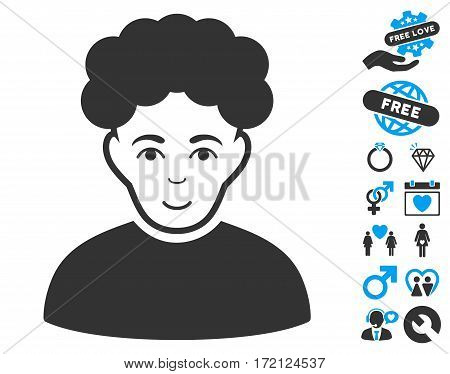 Brunet Man pictograph with bonus decorative graphic icons. Vector illustration style is flat iconic blue and gray symbols on white background.