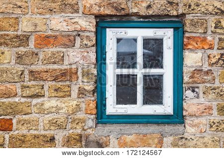 Red Brick Wall With Old Window