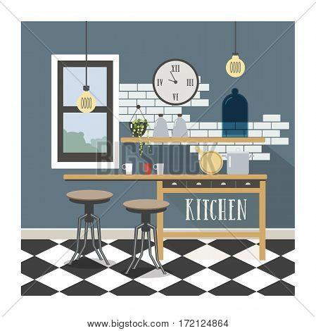 Modern kitchen interior in loft style. Colorful flat illustration.