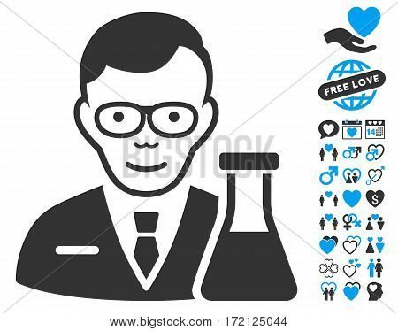Chemist icon with bonus dating pictograms. Vector illustration style is flat iconic blue and gray symbols on white background.