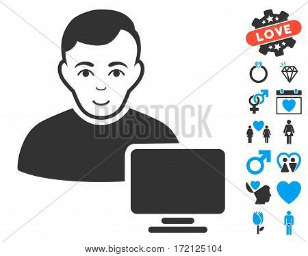 Computer Administrator pictograph with bonus decoration clip art. Vector illustration style is flat iconic blue and gray symbols on white background.