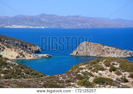 Elevated view of the sea and rugged coastline near Ammoudara Crete Greece Europe.