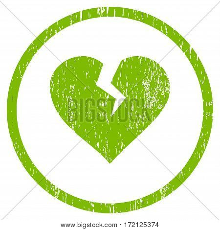 Heart Break grainy textured icon for overlay watermark stamps. Rounded flat vector symbol with unclean texture. Circled light green ink rubber seal stamp with grunge design on a white background.