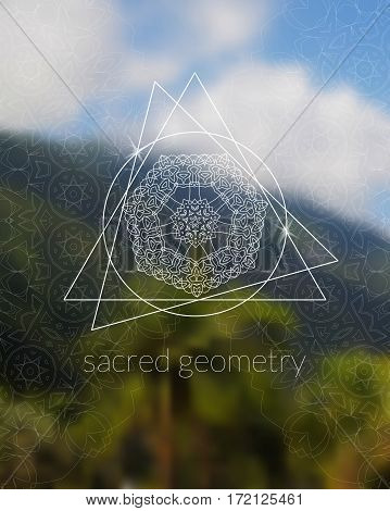 Sacred geometry mandala on realistic tropic background. Boho decorative elements. Sky and jungle. Good for yoga studio or meditation classes, flyer, card, invitation. Vector EPS10 illustration.