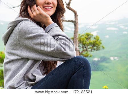 Close Up, Smiling Beautiful Woman In Mountains