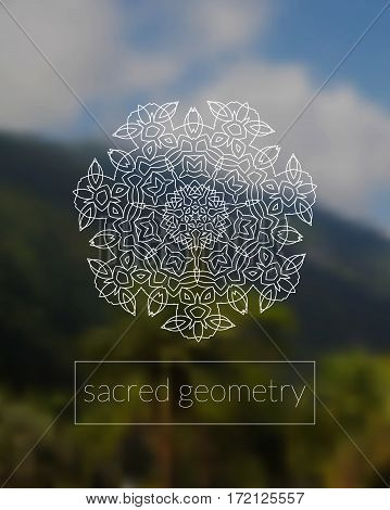 Sacred geometry mandala on realistic tropic background. Boho decorative ornament. Sky and jungle. Good for yoga studio or meditation classes, flyer, card, invitation. Vector EPS10 illustration.