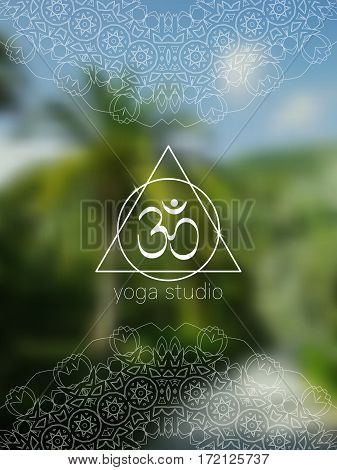 Tropical yoga banner with om symbol. Sacred geometry mandala on realistic tropic background. Sunny jungle. Good for yoga studio, tantra or meditation resort, flyer, card. Vector EPS10 illustration.
