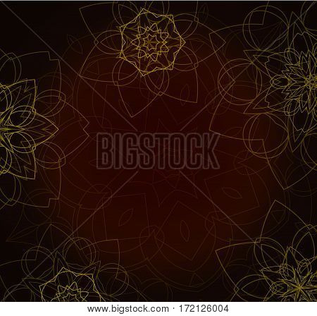 Abstract brown tribal background with floral mandalas. Ethnic ornament. Traditional decorative elements. Good for yoga studio or meditation classes, flyer, card, invitation. Vector EPS10 illustration.