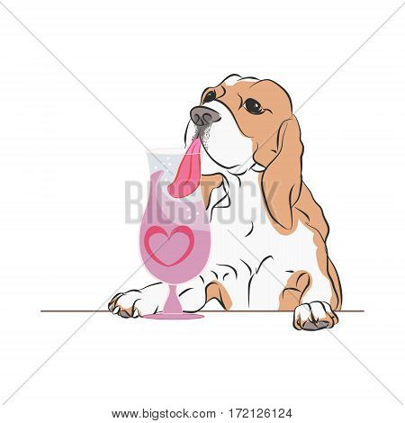 Dog drinking a cocktail, illustration on white background, vector