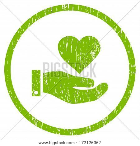 Love Heart Offer Hand grainy textured icon for overlay watermark stamps. Rounded flat vector symbol with unclean texture.