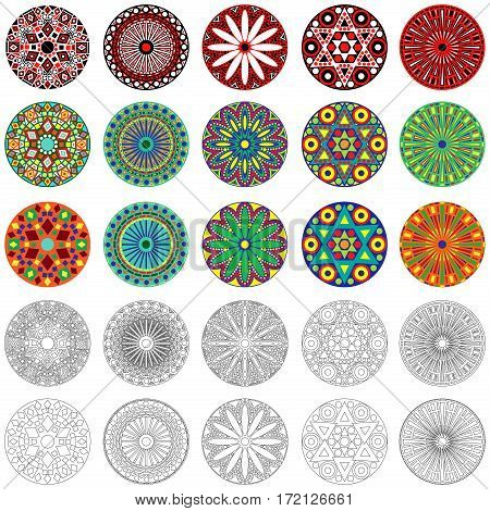Set of twenty five colourful and monochrome stylized geometric round flowers vector illustration