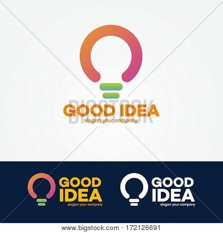 Idea logo set with light bulb for smart solution, creative studio, programming specialist, programmer, web developer, coder, software firm etc. Vector Illustration