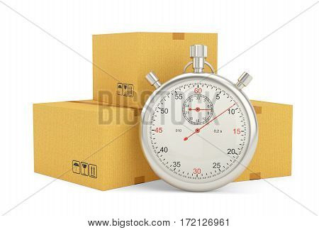 Express delivery. Stopwatch and package on white background. 3d illustration