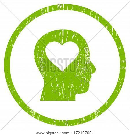 Love In Head grainy textured icon for overlay watermark stamps. Rounded flat vector symbol with scratched texture. Circled light green ink rubber seal stamp with grunge design on a white background.