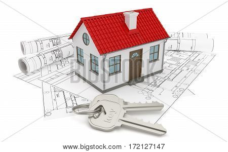 Composition of construction drawings, models at home with red roof and keys. 3D rendering