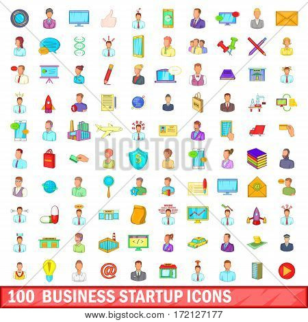 100 business startup icons set in cartoon style for any design vector illustration