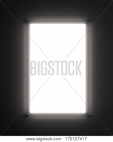 Blank white poster mockup in illuminated glass holder, 3d rendering. Template for your design