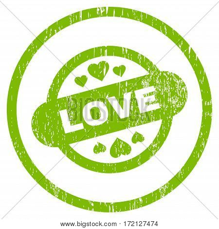 Love Stamp Seal grainy textured icon for overlay watermark stamps. Rounded flat vector symbol with dust texture. Circled light green ink rubber seal stamp with grunge design on a white background.