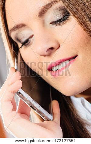 Smiling Young Woman Use Phone.