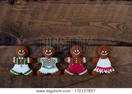 Christmas Cookies, Gingerbread Man Old Wooden Background. Flat Lay, Top View, With Copy Space.