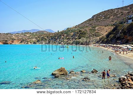 ISTRO, CRETE - SEPTEMBER 18, 2016 - Tourists relaxing on the beach Istro Crete Greece Europe, September 18, 2016.