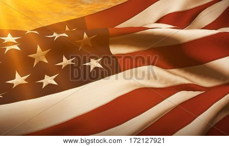 American Usa Flag, Stars And Stripes At Sunset, With Sun Rays Light