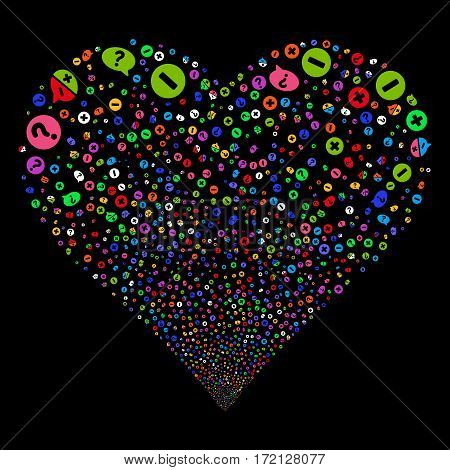 Pros And Cons Arguments fireworks with heart shape. Vector illustration style is flat bright multicolored iconic symbols on a black background. Object valentine heart organized from random symbols.