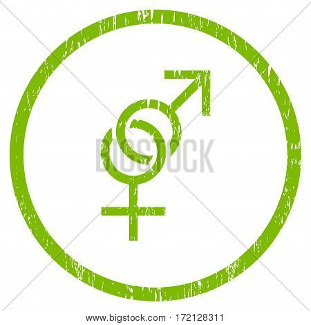 Sex Symbol grainy textured icon for overlay watermark stamps. Rounded flat vector symbol with unclean texture. Circled light green ink rubber seal stamp with grunge design on a white background.