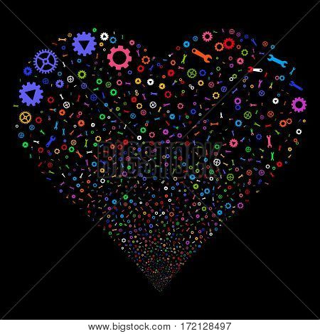 Setup Tools fireworks with heart shape. Vector illustration style is flat bright multicolored iconic symbols on a black background. Object valentine heart done from confetti icons.