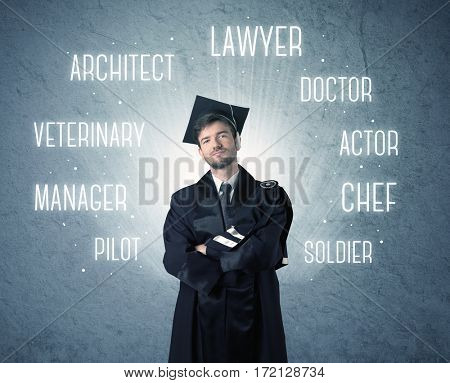 Graduete person looking for professions written above his head